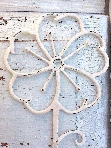 shabby chic cream flower wall hook rack by