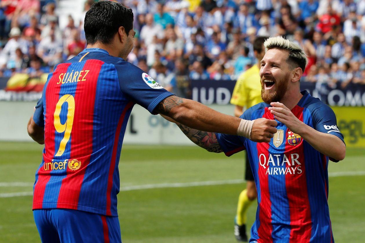 Lionel Messi fejrer sin første scoring, da FC Barcelona slog Leganes 5-1 søndag…