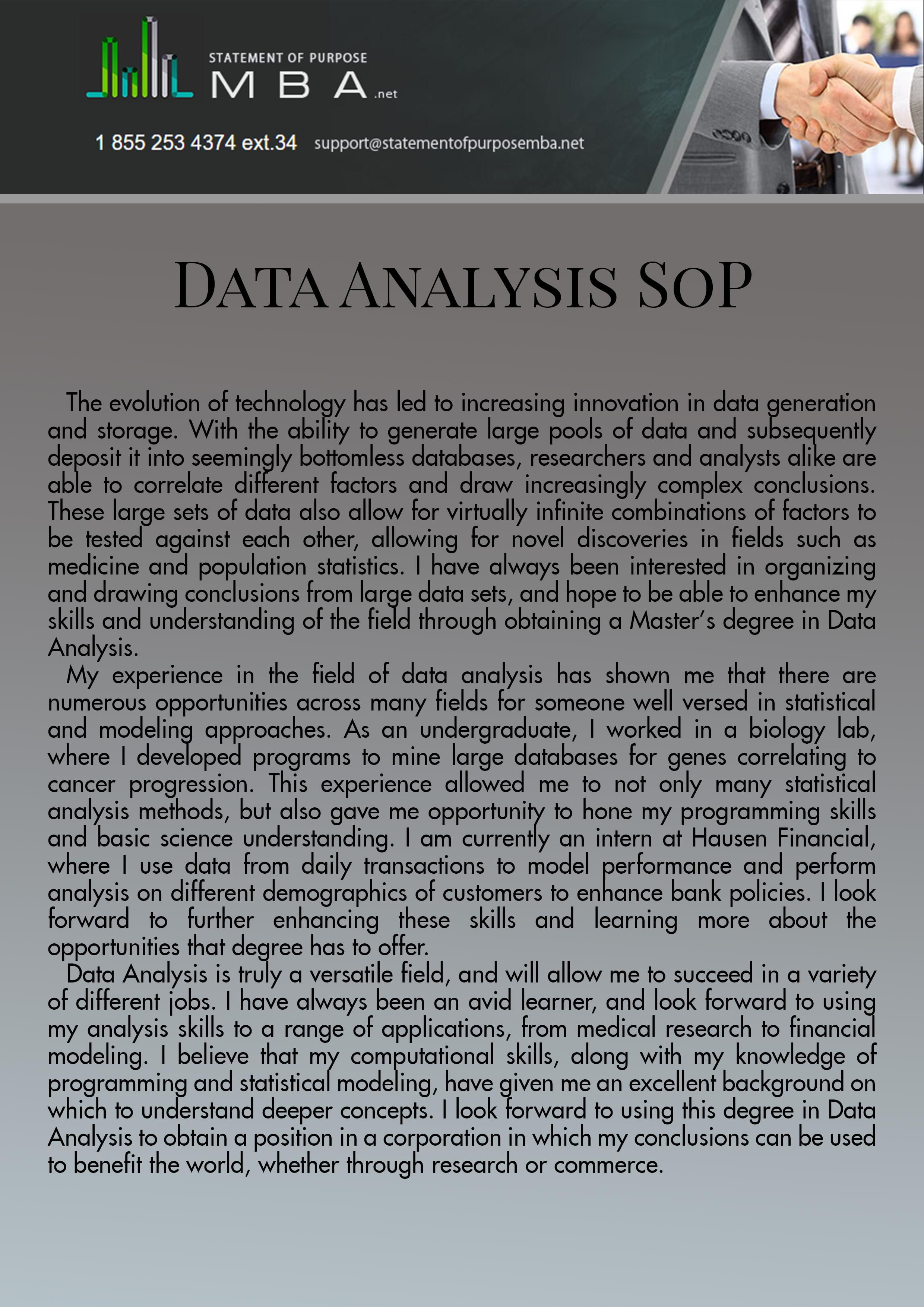 Perfect Sop For Ms In Data Analysis Sample That Can
