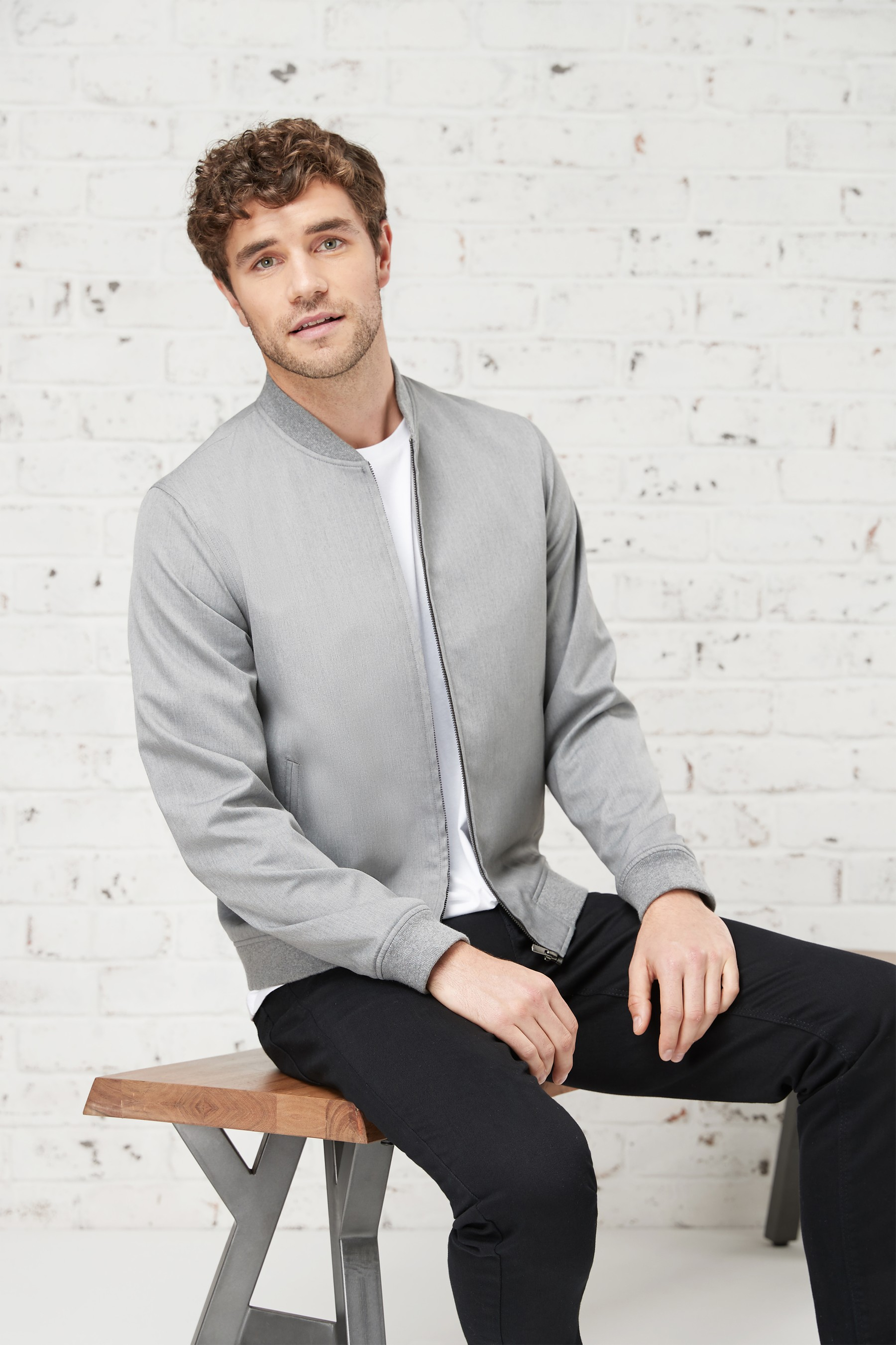 Mens Next Grey Bomber Jacket Grey Mens Bomber Jacket Outfit Grey Jacket Mens Smart Casual Men [ 2700 x 1800 Pixel ]