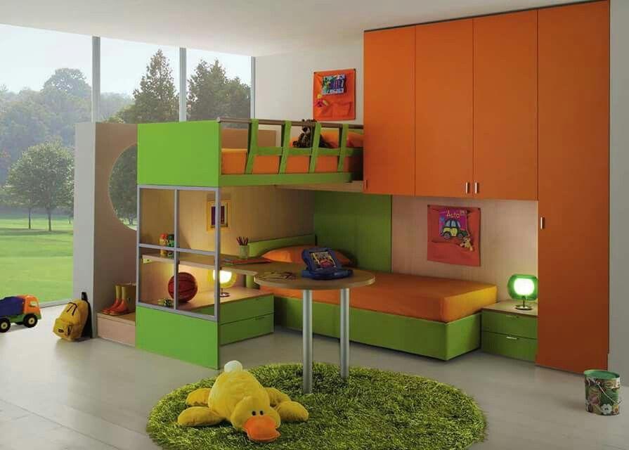 Chambre double enfant   Kinderzimmer dekor, Kinder zimmer, Schlafzimmer einrichten