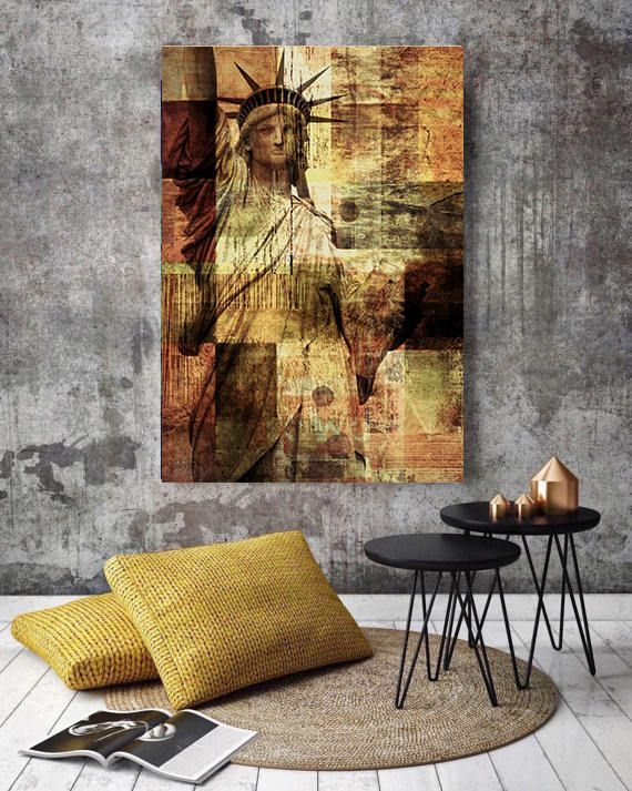 Statue of liberty large architectural cityscape canvas art print rustic brown urban canvas art print up to by irena orlov