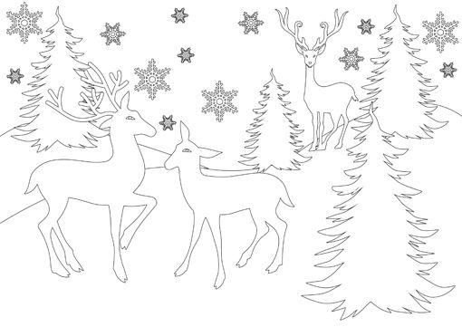 Ausmalbild Rentiere Im Wald Mit Schneeflocken Ausmalbilder