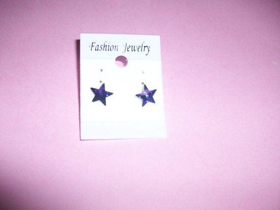 Purple Star Pierced Stud Earrings MM176 by 5DollarMaddness on Etsy, $3.00
