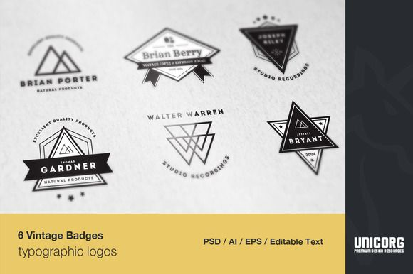6 Vintage Typographic Logo Badges by Pixelogical on Creative Market