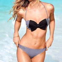 Swimwear Women Fashion Halter Striped Bikini Woman New Summer Sexy Swimwear Bath Suit Push Up Bath Suit Bow Knot Bikini 3264