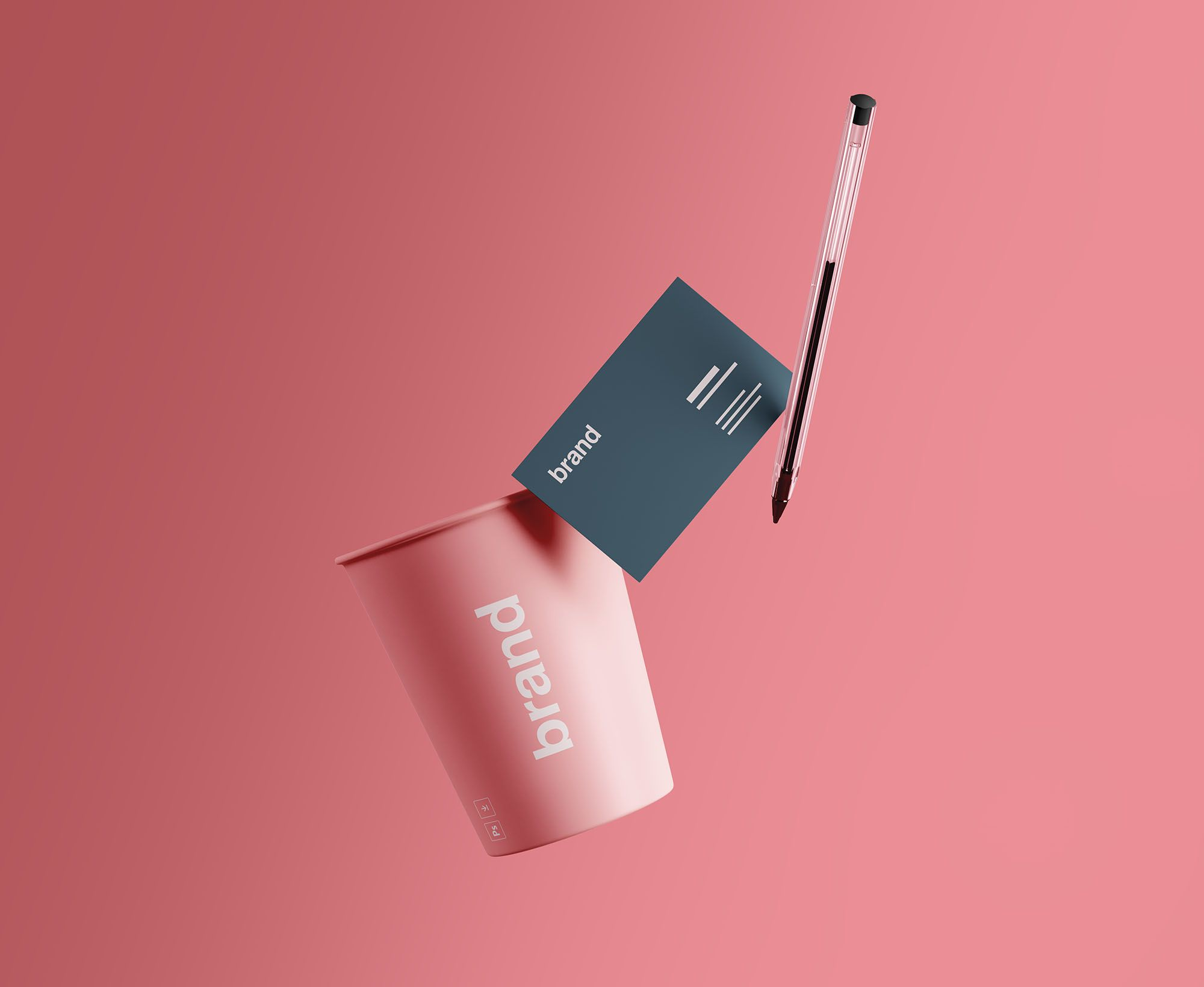 Cup with business card psd mockup download for free