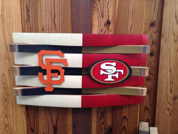 Giants and 49ers Football Wall Decor Rustic Wooden by Martellas & Giants and 49ers Football Wall Decor Rustic Wooden by Martellas ...