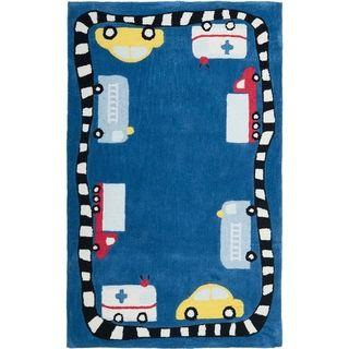 Handmade Children S Cars Trucks Blue New Zealand Wool Rug