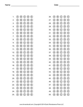 Answer Sheet Template #1 - Tim's Printables | Multiple ...