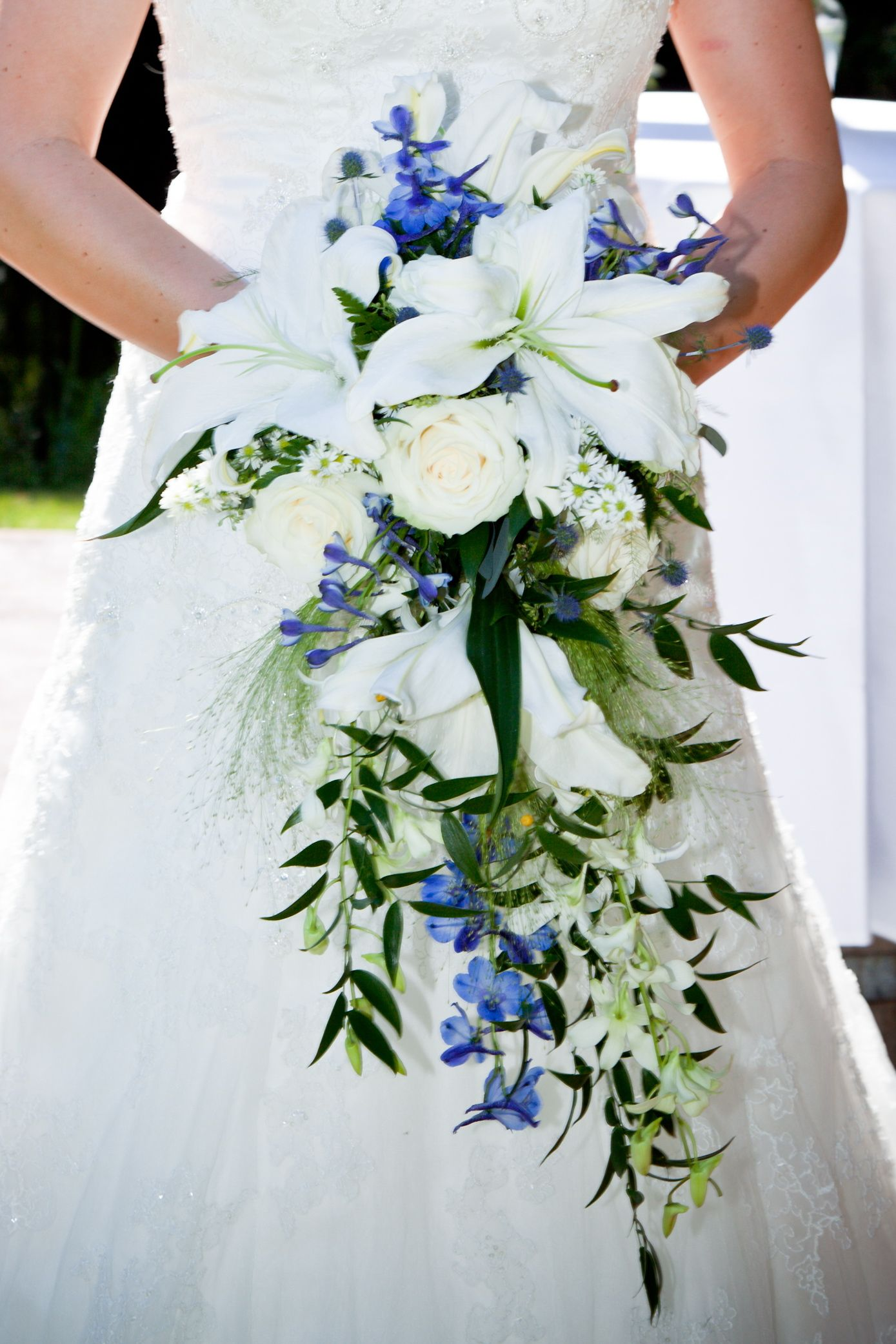 my wedding bouquet cascading bridal bouquet with lilies blue delphinium bells of ireland. Black Bedroom Furniture Sets. Home Design Ideas