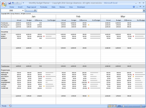 Georges Budget For Excel V12 0 Monthly Budget Planner Budget