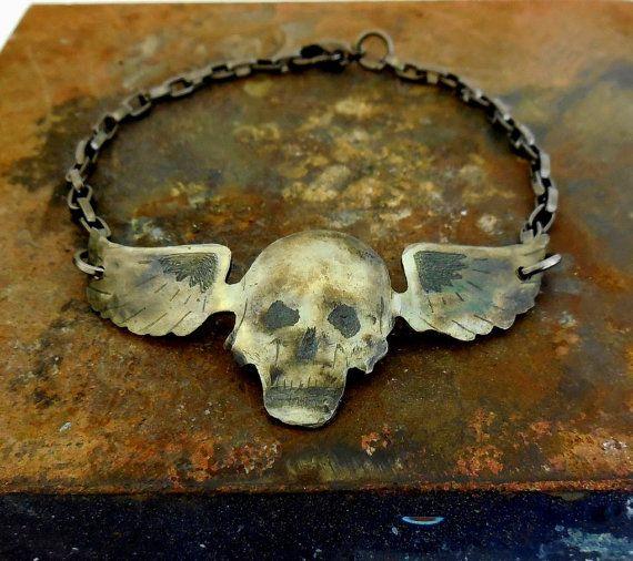Gun metal bracelet with silver hammered by HellonWheelsJewelry, $40.00