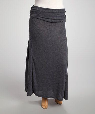 Take a look at this Heather Charcoal Maxi Skirt - Plus by Poliana Plus on #zulily today!