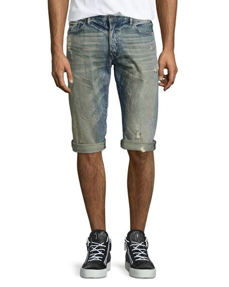 PRPS DISTRESSED SLIM-FIT DENIM SHORTS, BLUE. #prps #cloth #