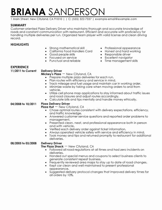 Fedex Package Handler Job Description Resume Awesome Pizza Delivery Drivers Resume Examples Created By Pros Resume Examples Resume Action Words Resume Skills