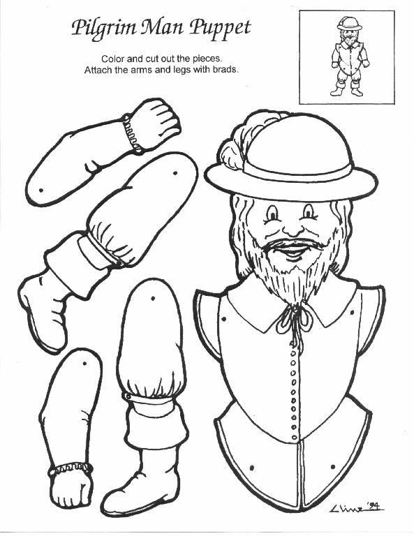 Puppet Indian Pilgrim Man 2 Thanksgiving Paper Dolls Puppets