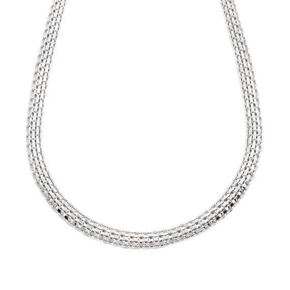 Vtg Mexico 925 Sterling Silver Long Hollow Modernist Bead Chain Necklace 28