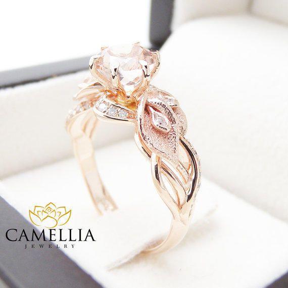 14K Rose Gold Morganite Engagement Ring Calla Lily Design