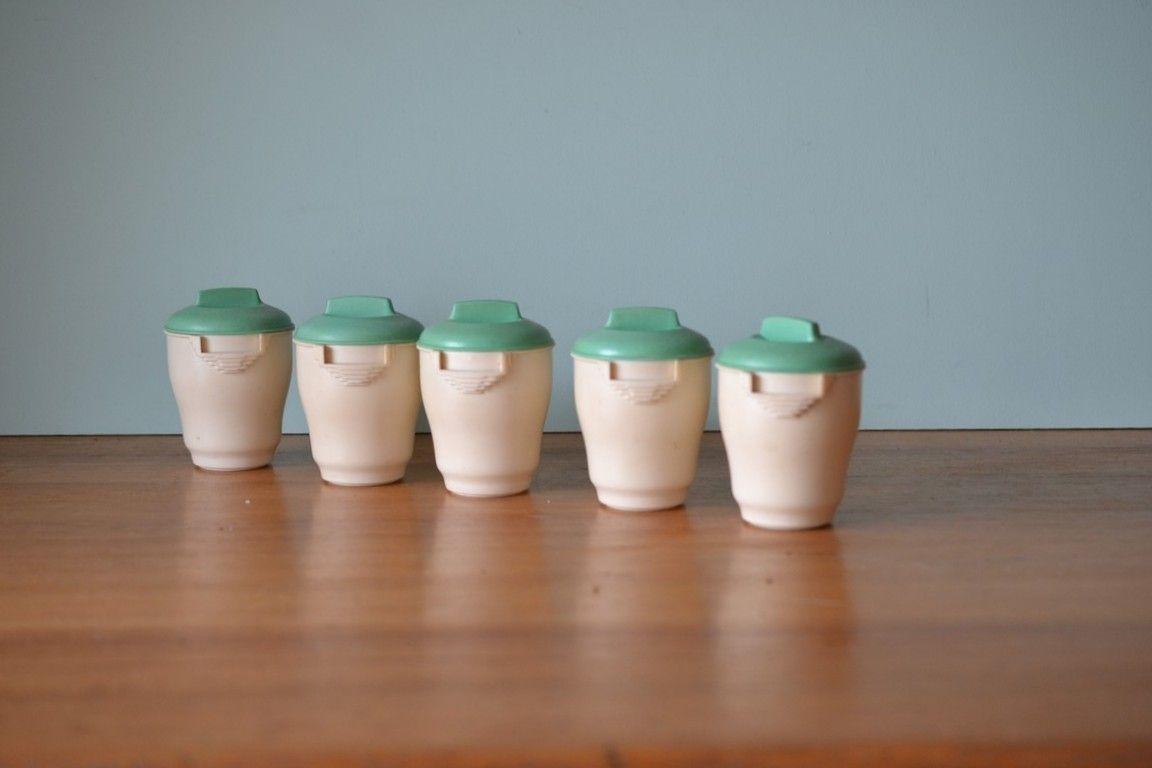 Vintage Kitchen canisters Art Deco Bristolite bakelite - Funky ...