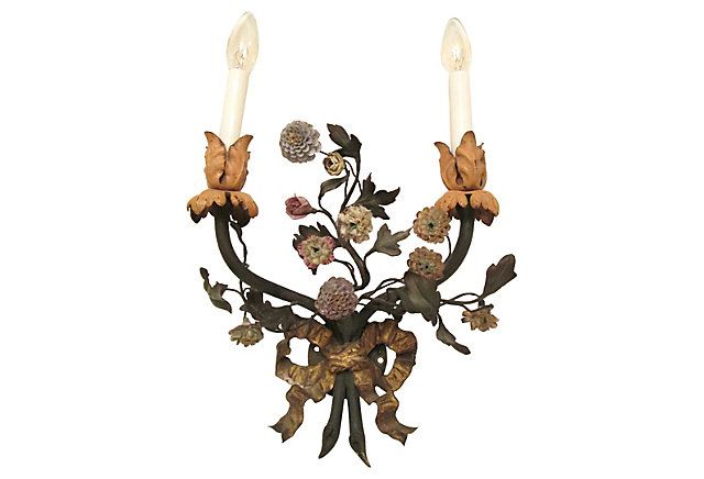 French Tole & Porcelain Sconce