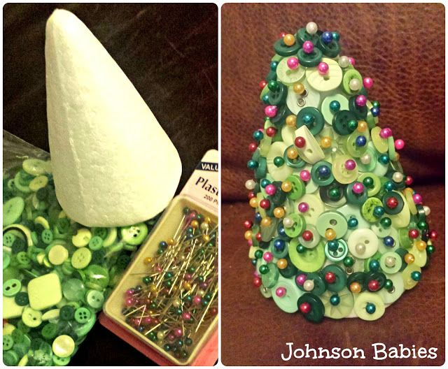 Johnson babies Christmas decorations #Christmas #trees #decorations #buttons #polystyrene #crafts