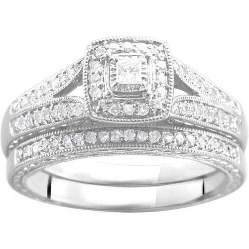 Forever Bride 1 2 Carat T W Diamond Princess Quad Sterling Silver