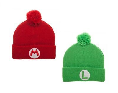e06d39d8736 Super Mario Brothers Pom Beanie Hat - Red Green Luigi Nintendo NES Winter  Warm