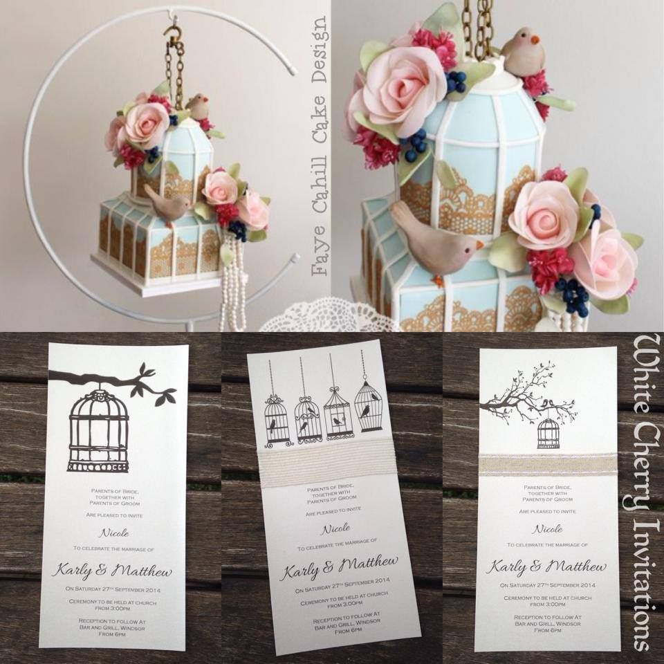 Check out the first hanging cake Faye Cahill has made ~ a beautiful birdcage! And to compliment this amazing cake for all you lovebirds, check out our range of {birdcage} invites - by White Cherry Invitations
