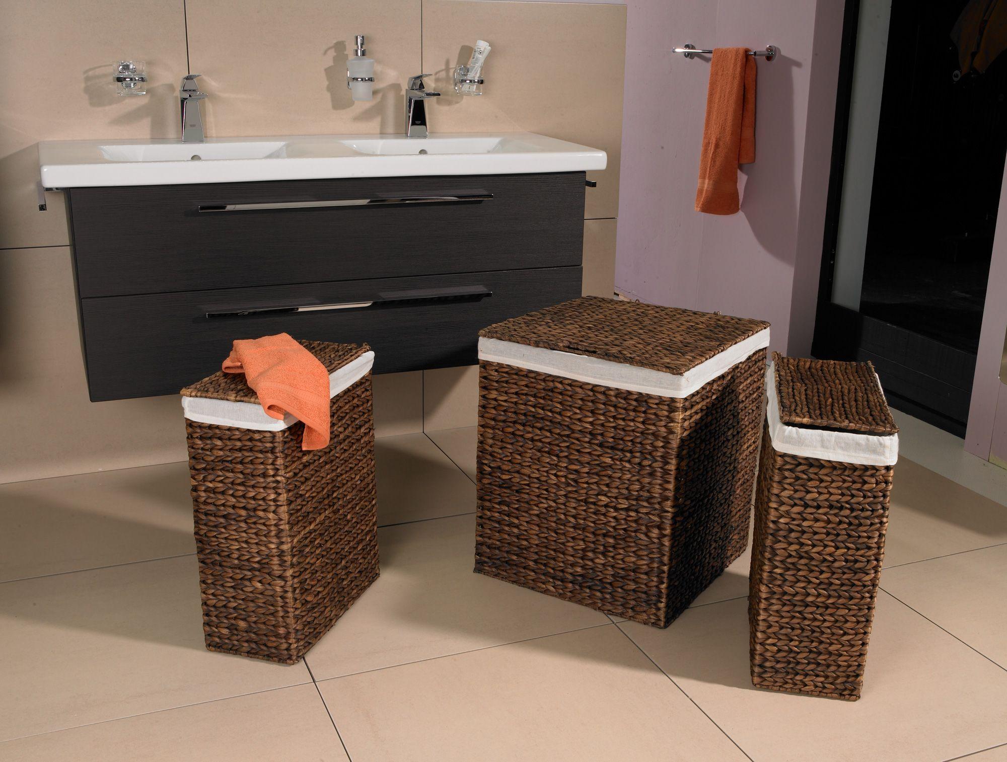 Waschebehalter 3er Set Wasserhyazinthe Braun Waschekorbe Waschesammler Waschebehalter Waschetruhe Aufbewahrungsbox Mit Deck Diy Storage Vanity Bathroom Vanity