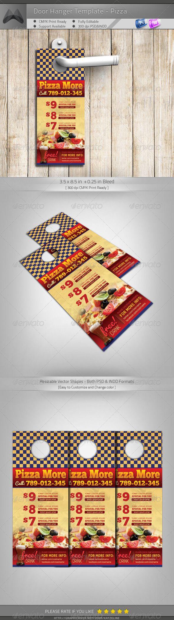 Door Hanger - Pizza More | Food & Drink Flyer Template | Pinterest ...
