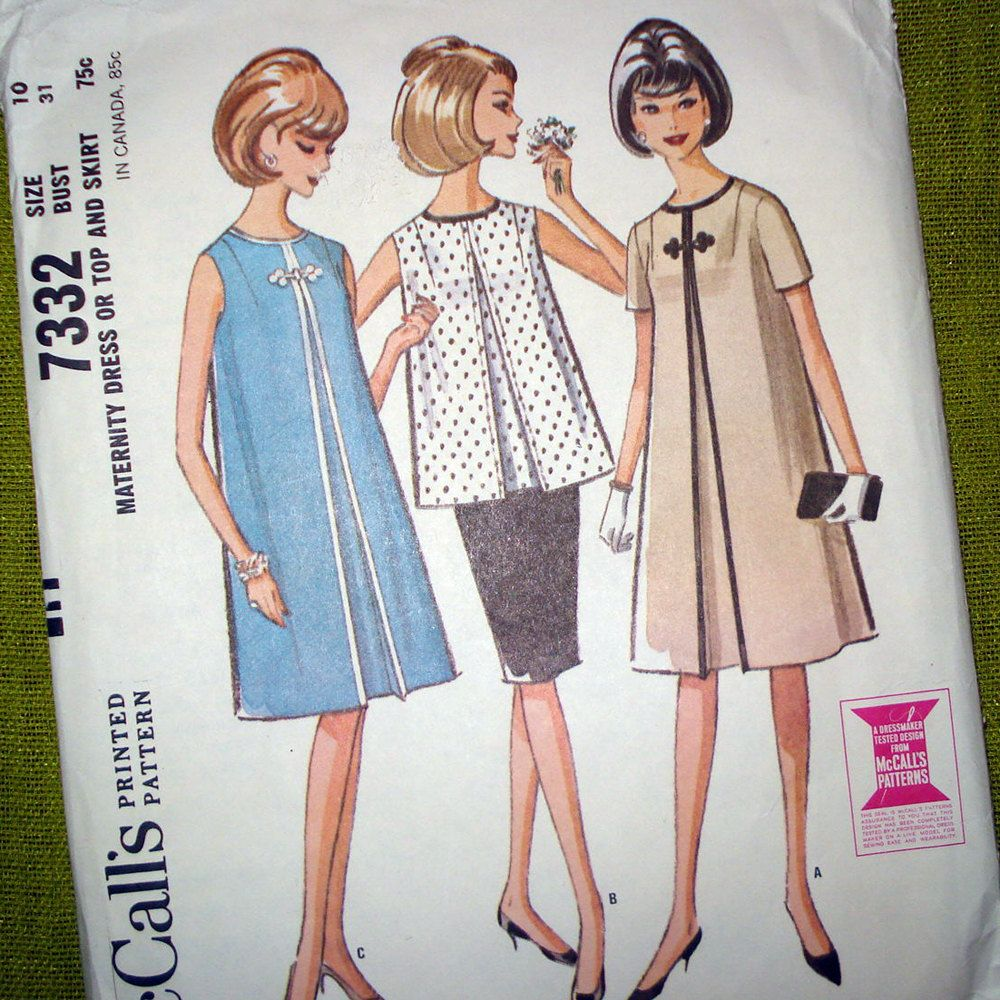 S vintage sewing pattern mccalls maternity dress tent