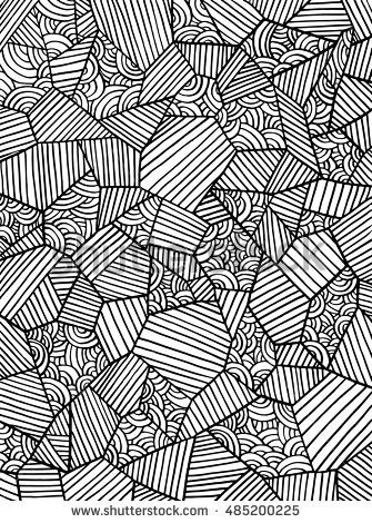 Abstract Geometrical Pattern Decorative Vector Background Black And White Line Coloring Book Page For Black And White Lines Coloring Books Vector Background