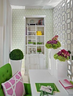 Very palm beach but fun. I especially love the room divider, sweet way to create a little home office.