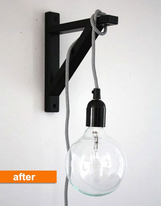 Before After An Ikea Bracket Turned Modern Wall Light Sconce Home Decor Hacks Bracket Lights Diy Lamp