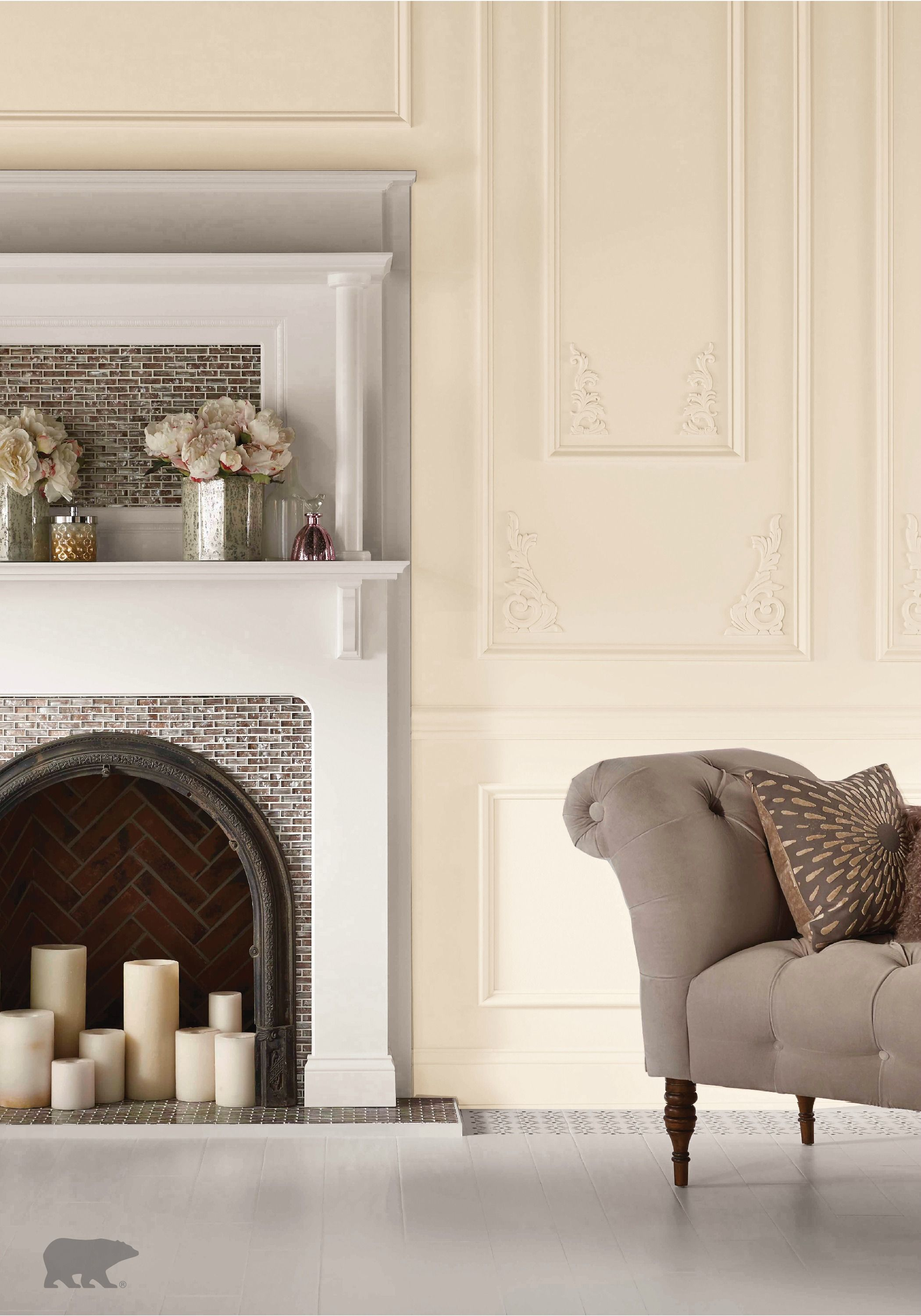 Soft and ethereal this cream room features pearly white for Neutral cream paint color