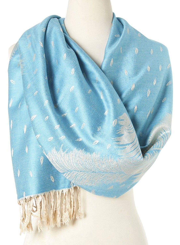 1596ce304 Double Layer Reversible Paisley Fringe Pashmina Shawls and Wraps for Women  - 7 Baby Blue - CJ12ENEYTAB - Scarves & Wraps, Wraps & Pashminas #SCARVES # WRAPS ...