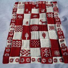 Couverture, plaid patchwork au tricot rouge et écru