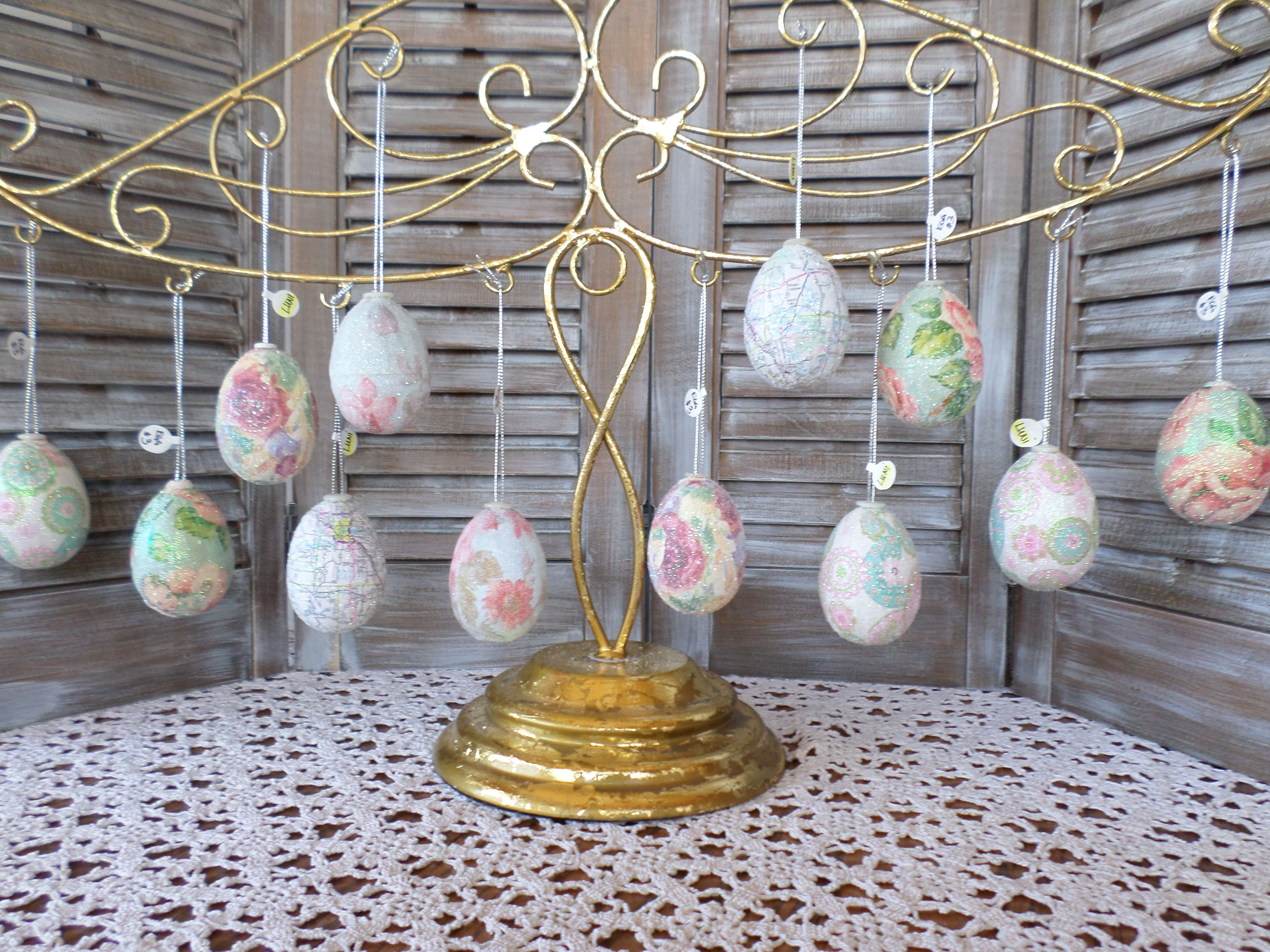 Plastic Eggs Decoupaged With Pretty Paper Then Sprinkled