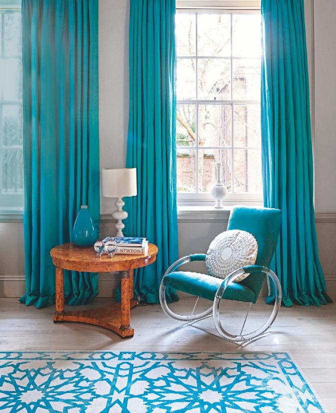 Nunca se me hubiera ocurrido unas cortinas turquesas pero for Cortinas azul turquesa