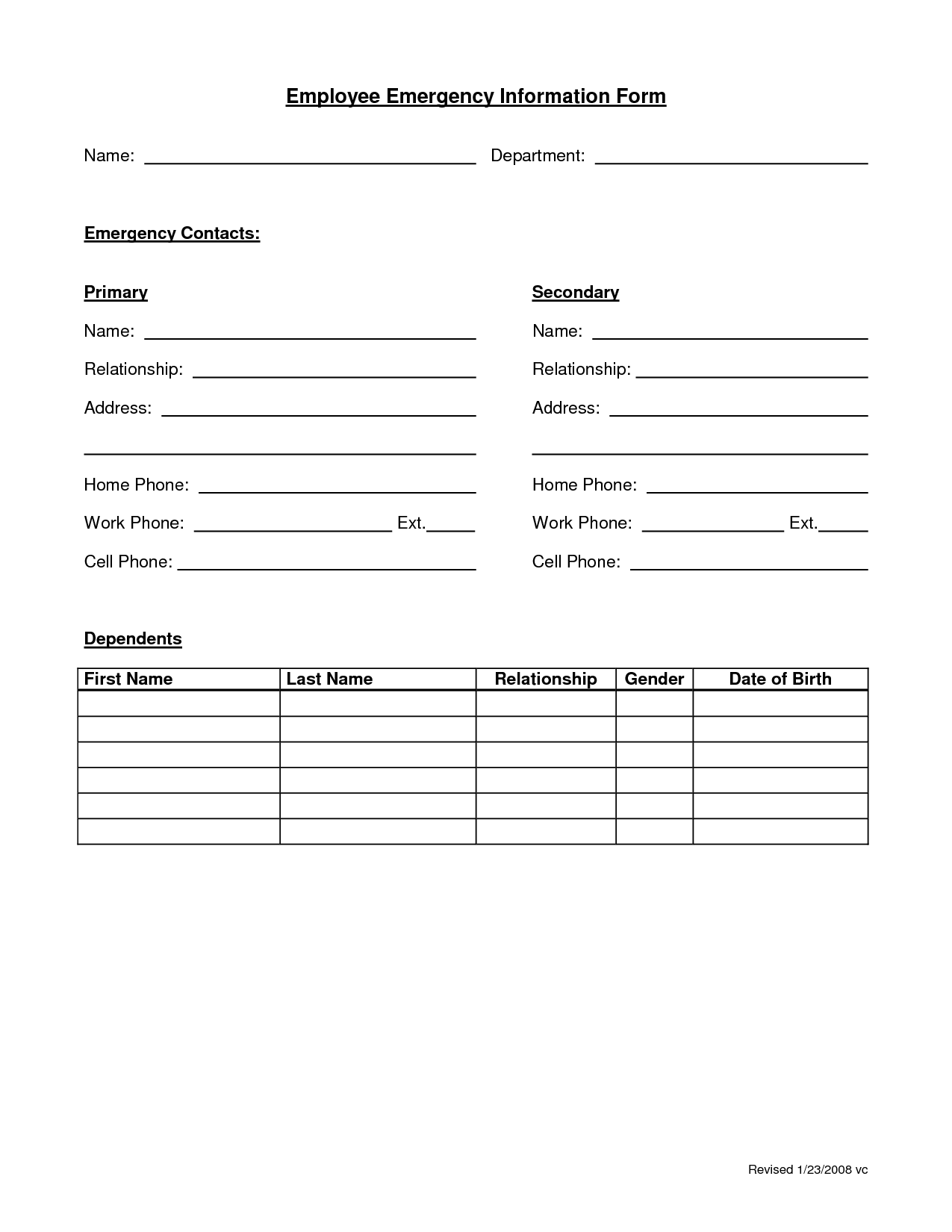 Employee Emergency Form  Contact Information Form Template