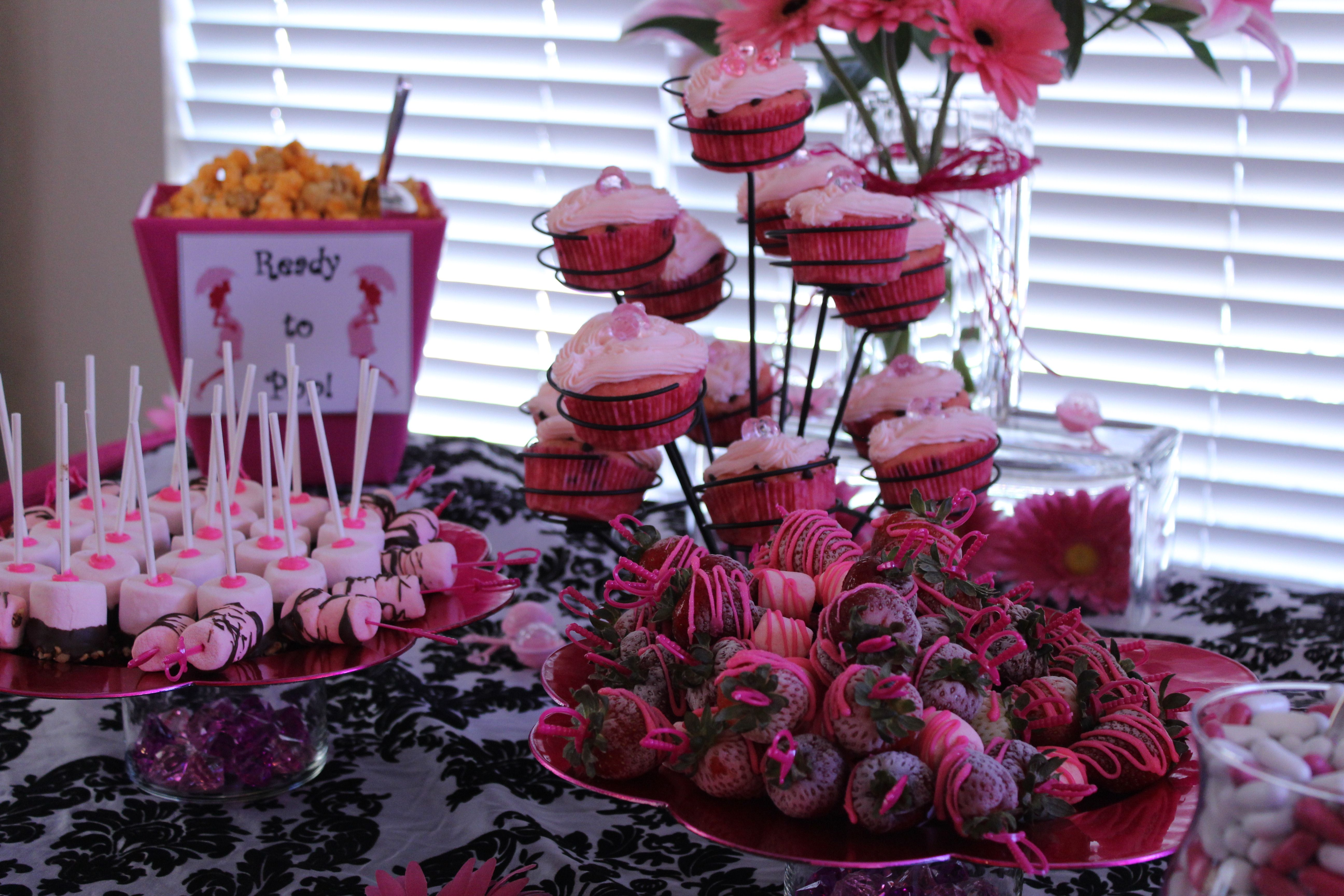 Baby shower dessert table, baby shower ideas, pink, black and white damask