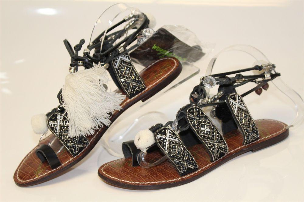 7960652b726579 Sam Edelman NEW Gem Womens 9 M 39 Black Leather Beaded Gladiator Sandal  Shoes hw  fashion  clothing  shoes  accessories  womensshoes  sandals (ebay  link)