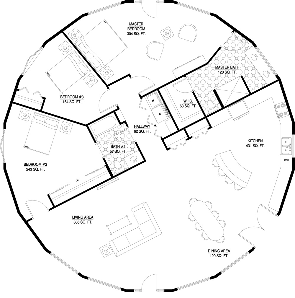 Round Homes Designs: 2070 Total Square Ft