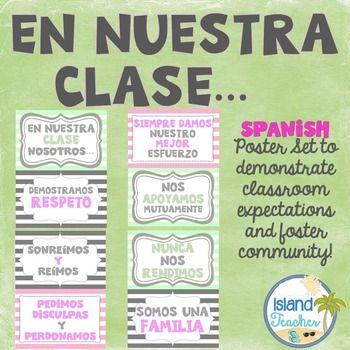 En nuestra clase spanish class poster set clase de for En nuestra clase