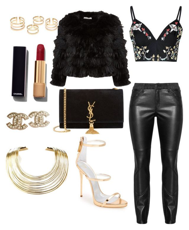 """Date Night"" by tashawna-campbell on Polyvore featuring Giuseppe Zanotti, Glamorous, Alice + Olivia, Yves Saint Laurent, Chanel and Bisjoux"