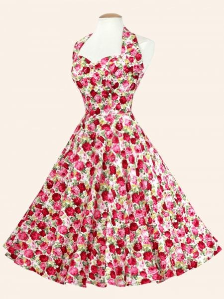 1950s Halterneck Rose Garden Dress from Vivien of Holloway