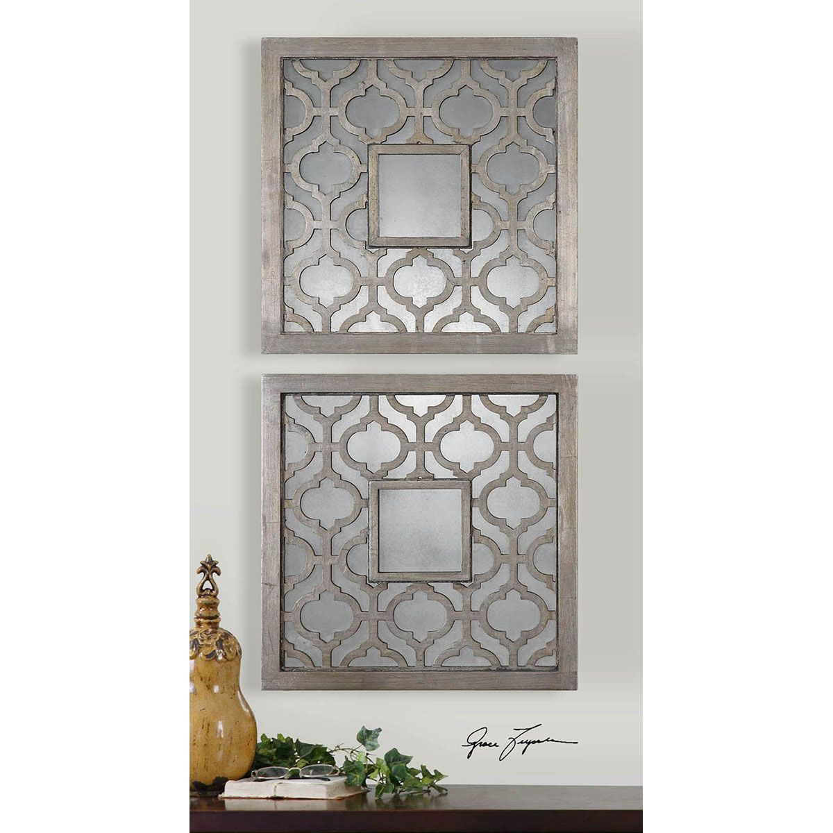 Sorbolo Antique Silver Leaf Squares, Set Of Two Uttermost Plaque Wall Decor  Home