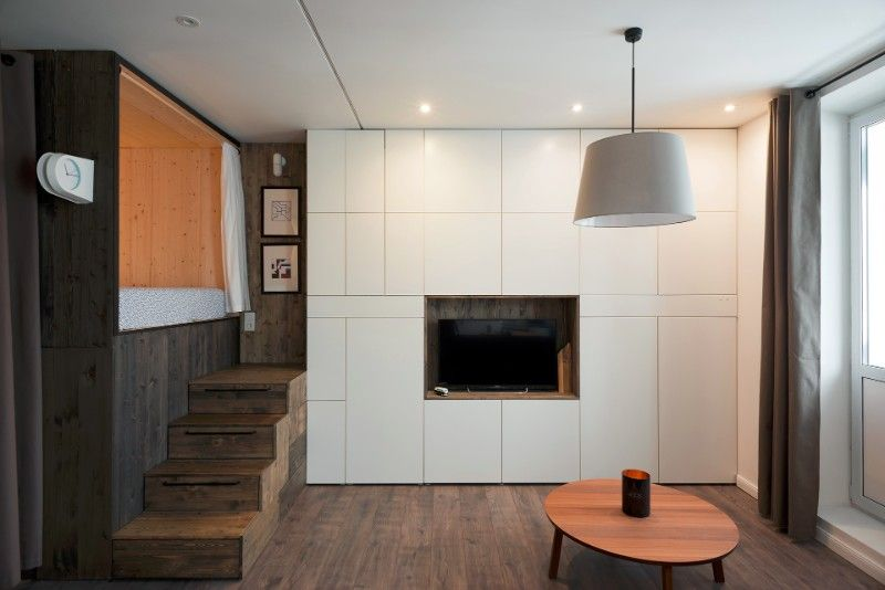 studio apartment loft bed. The designer s small studio apartment features an ingenious loft bed packed  with storage Living in
