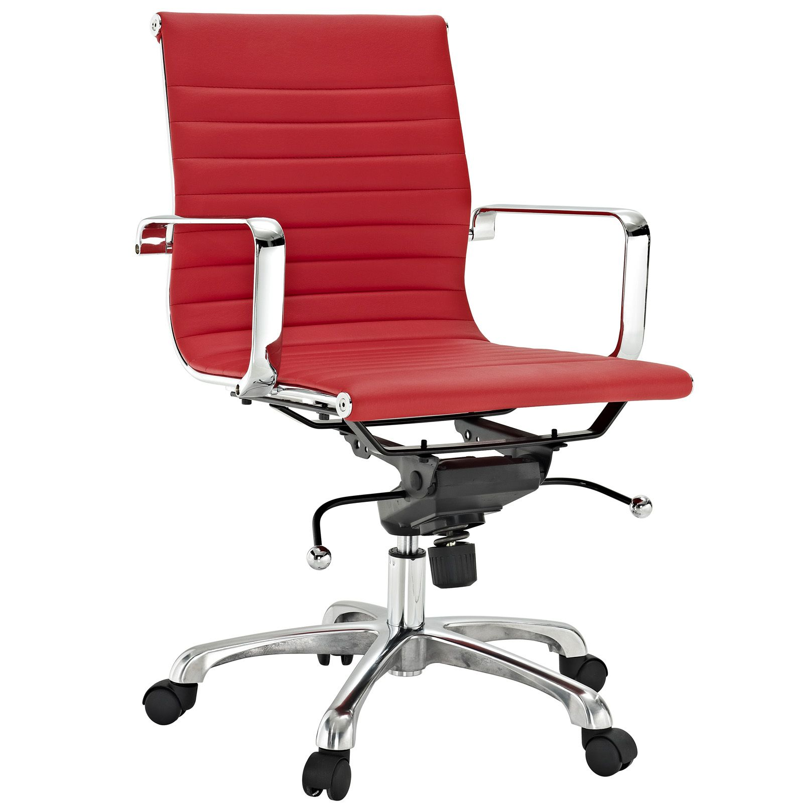 Ribbed Mid Back Chair in Red Vinyl